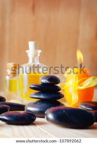 stones for spa and aroma oil