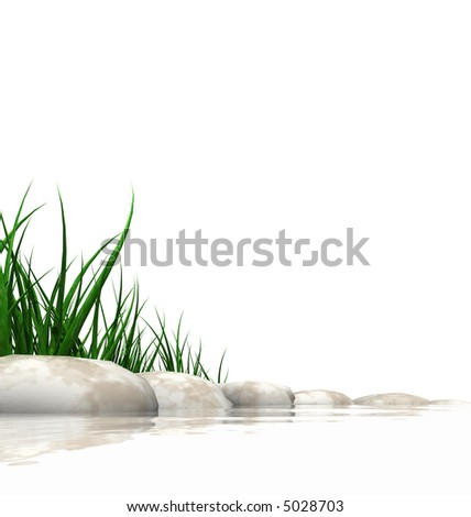 Stones & grass at waters edge isolated on white - stock photo
