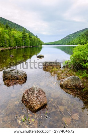 Stones in River at Acadia National Park - stock photo