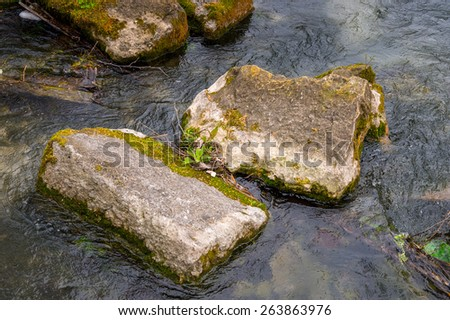 Stones of the  Dion Archeological Site in Greece - stock photo