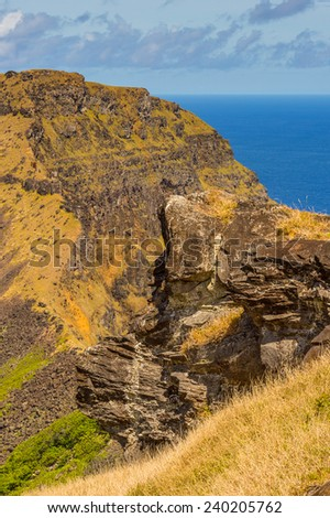 Stones of the Easter Island (Isla de Pascua), Chile, South America - stock photo