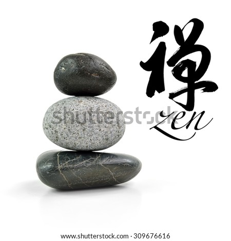 Stones pyramid isolated on white background, selective focus.  Chinese calligraphy chan, Translation: Meditation, Zen, Dhyana & Abdicate. - stock photo