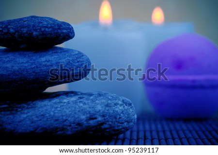 Stones, soap and candles - stock photo