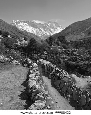 Stones with mantras along the trek to Mt. Everest (black and white) - Nepal