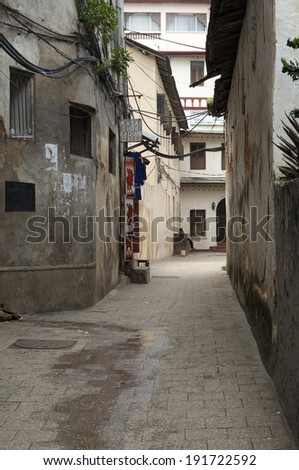 STONETOWN, ZANZIBAR-APRIL 20:Stonetown ancient town panorama at April 20, 2014 in Zanzibar, Tanzania. Stonetown is the capital of the island and recognized as a World Heritage Site by UNESCO.   - stock photo