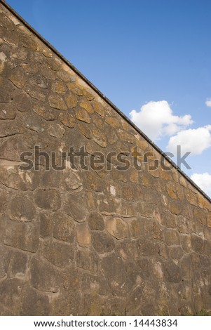 Stonewall with blue sky