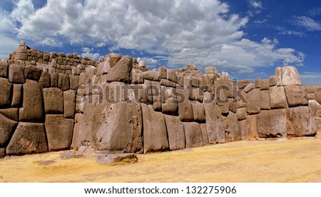 Stonework of the walls of Sacsayhuaman, in Cusco, Peru - stock photo