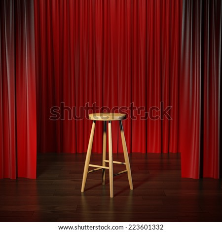 stool on a stage  - stock photo