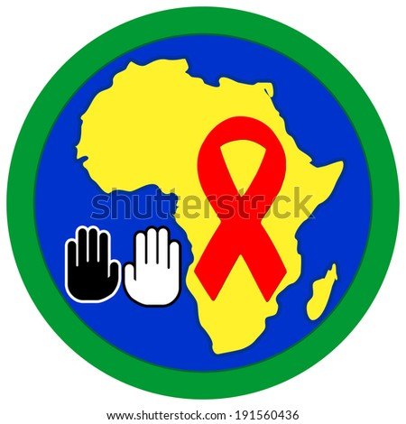 Stop Aids in Africa. Concept sign of helping to prevent HIV - stock photo
