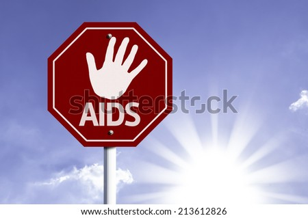Stop Aids red sign with sun background  - stock photo