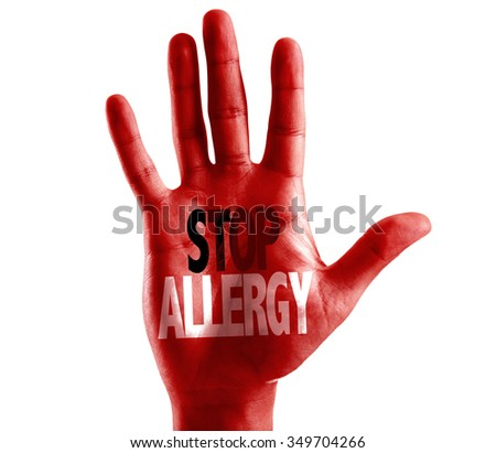 Stop Allergy written on hand isolated on white background - stock photo