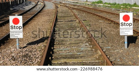 Stop and wait for instructions railway sign for train drivers. - stock photo
