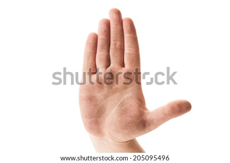 Stop begging for money concept using dirty homeless hand on white background - stock photo
