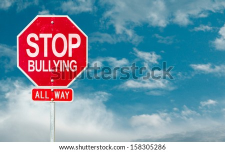 Stop Bullying creative sign on a sky background - stock photo