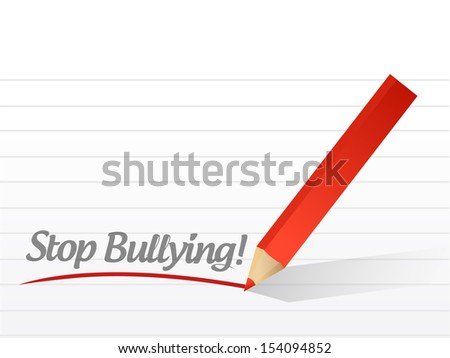 stop bullying written on a white paper. illustration design notepad paper - stock photo