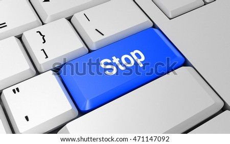 Stop button. Keyboard. Blue key. Blue button. 3D rendering