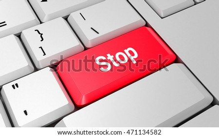 Stop button. Keyboard. Red key. Red button. 3D rendering
