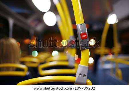 Stop button on a London City Bus - stock photo