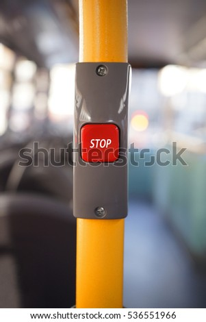 Stop button on a London City Bus, Public Transport
