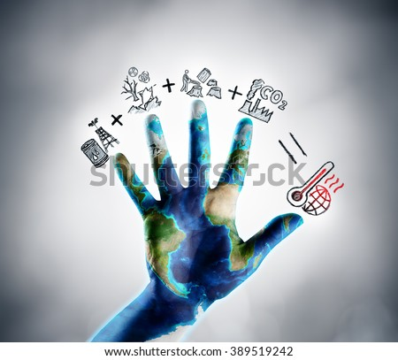 Stop Climate Change - Earth Day Theme - Drawn Icons Illustrating Global Warming Concept - Images furnished by Nasa  - stock photo