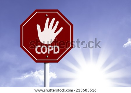 Stop COPD red sign with sun background - stock photo