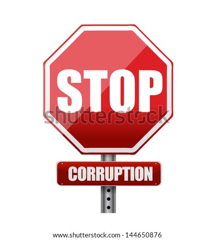 Stop corruption road sign illustration design over white - stock photo