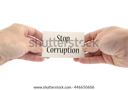 Stop corruption text concept isolated over white background - stock photo