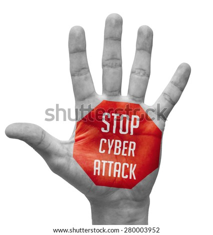 Stop Cyber Attack Sign in Red Polygon on Pale Bare Hand. Isolated on White Background. - stock photo