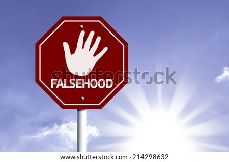 Stop Falsehood red sign with sun background  - stock photo