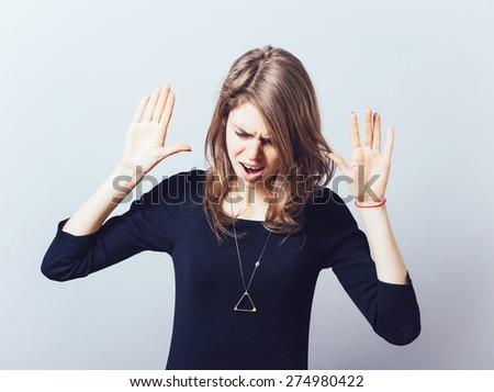 Stop gesture girl - stock photo