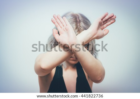Stop gesture with indignation shown by women