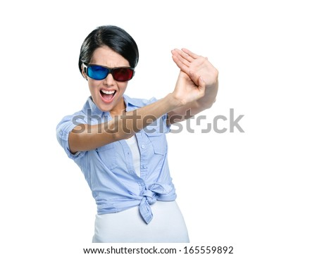 Stop gesturing girl in 3D spectacles with black rim, isolated on white - stock photo