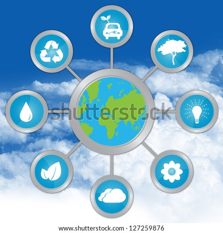 Stop Global Warming and Save The Earth Concept Present By The Earth Connected To Group of Conservation Icon in Blue Sky Background - stock photo
