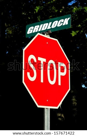 stop gridlock sign concept for traffic or government  stalemate