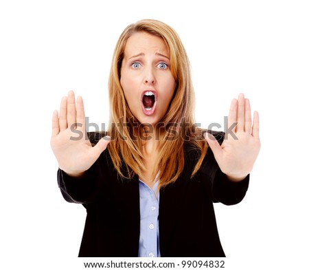 stop hand gesture with business woman, selective focus - stock photo