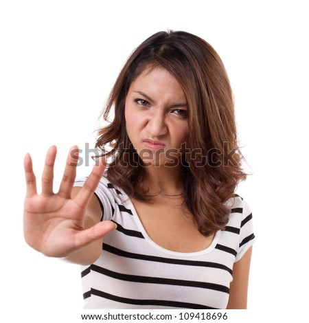 stop hand sign from angry beautiful woman
