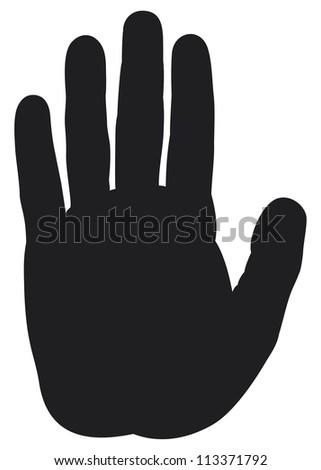 stop hand silhouette - stock photo