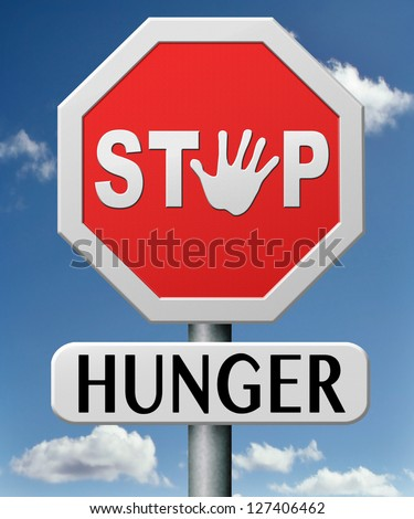 stop hunger suffering malnutrition starvation and famine caused by food scarcity undernourished bad harvest - stock photo