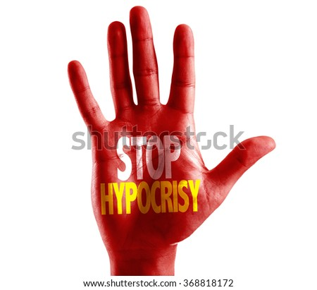 Stop Hypocrisy written on hand isolated on white background - stock photo