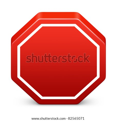 Stop icon in red on isolated white background. 3D render image and part of icon series.