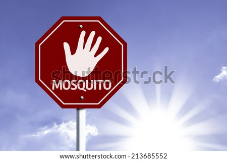 Stop Mosquito red sign with sun background  - stock photo