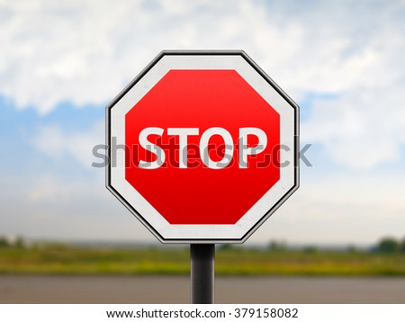 Stop road red sign