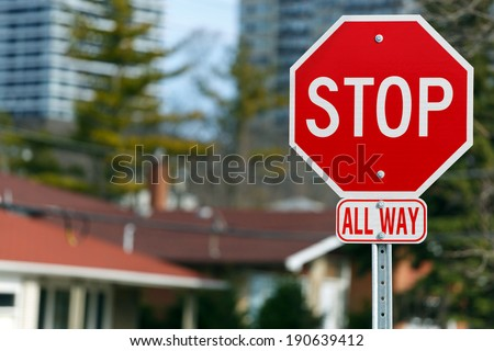 Stop road sign all way - stock photo