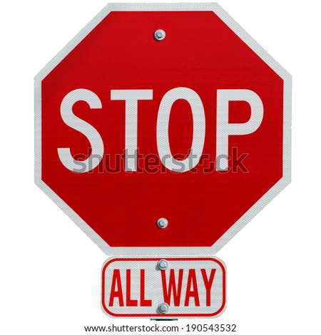 Stop sign all way isolated on white background - stock photo