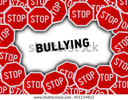 Stop sign and word bullying