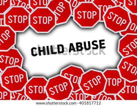 Stop sign and word child abuse