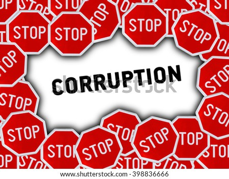 Stop sign and word corruption - stock photo