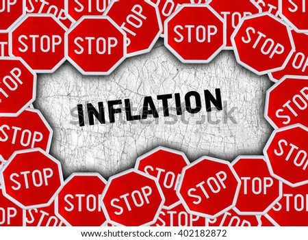 Stop sign and word inflation - stock photo