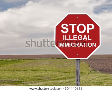 Stop Sign Asking To Halt Illegal Immigration Addition to Sign Set Series - stock photo