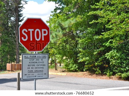 Stop sign at park entrance